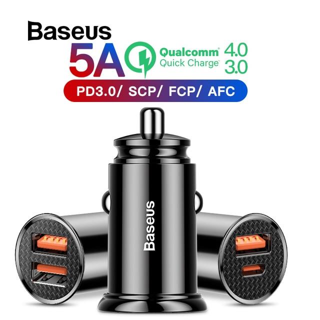 Cargador de coche Baseus 30W con carga rápida 4,0 3,0 para iPhone X Xs Max cargador de teléfono de coche USB SCP AFC para HUAWEI Mate 20 P30 P30Pro