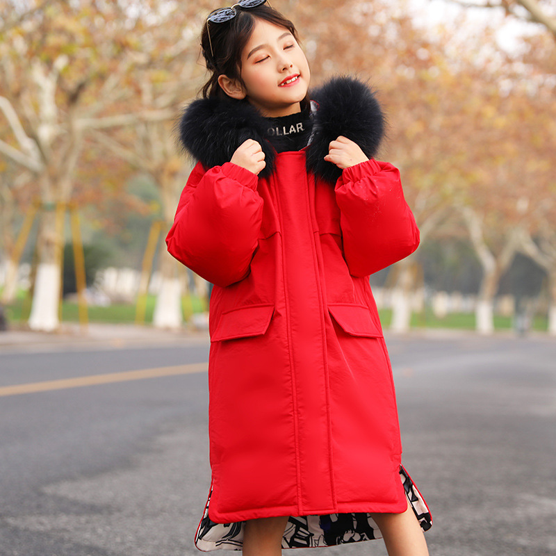 2019 New Girls Winter Down Jackets Korean Style Thicken Two-Sided Wear Outerwear Coat For Teens Big Girl 5-16 Y Parkas Coat