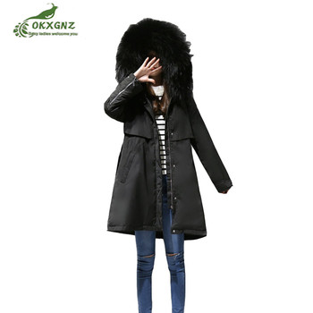 Winter new down cotton jacket women long-term high-end casual warm jacket coat Female was thin fur collar thickening coat OKXGNZ