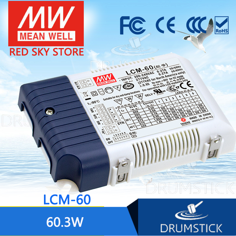 100% Original MEAN WELL LCM-60 90V 600mA meanwell LCM-60 90V 60.3W Multiple-Stage Output Current LED Power Supply
