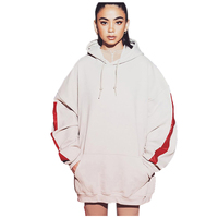 Fashion Winter Hoodies Women Solid Side Strap Long Loose Sweatshirts Front Pocket Cotton Thick Drop Shoulder