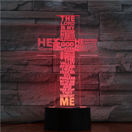 Jesus Cross Touch Remote Control 3D Night Light LED Stereo Acrylic Panel Table Decoration 7 Colors Change Bedroom Lamp GX1668