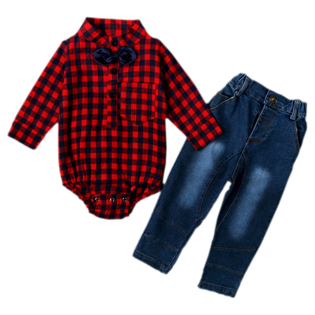 Gentleman Baby Boy Clothes Set Cute Plaid Shirt Pattern Bow Tie Rompers + Denim Pants Cool Jeans Trousers Outfits YM33TZ