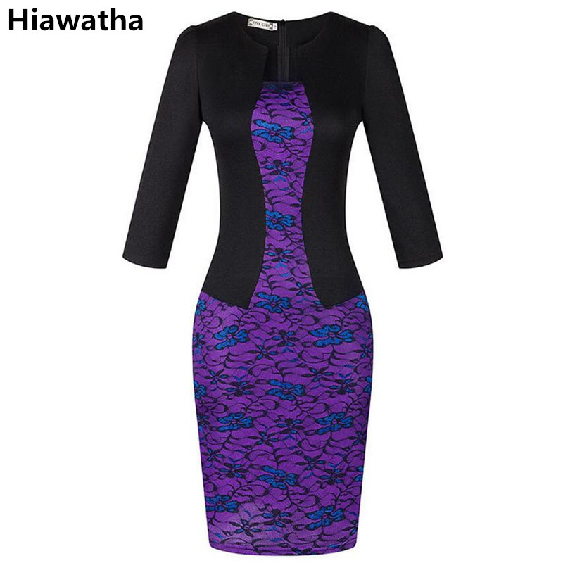 Hiawatha 2017 New Three Quarter Sleeve Dress Women Fake two Pieces Lace Patchwork Pencil Dresses With Belt Vestidos L8090