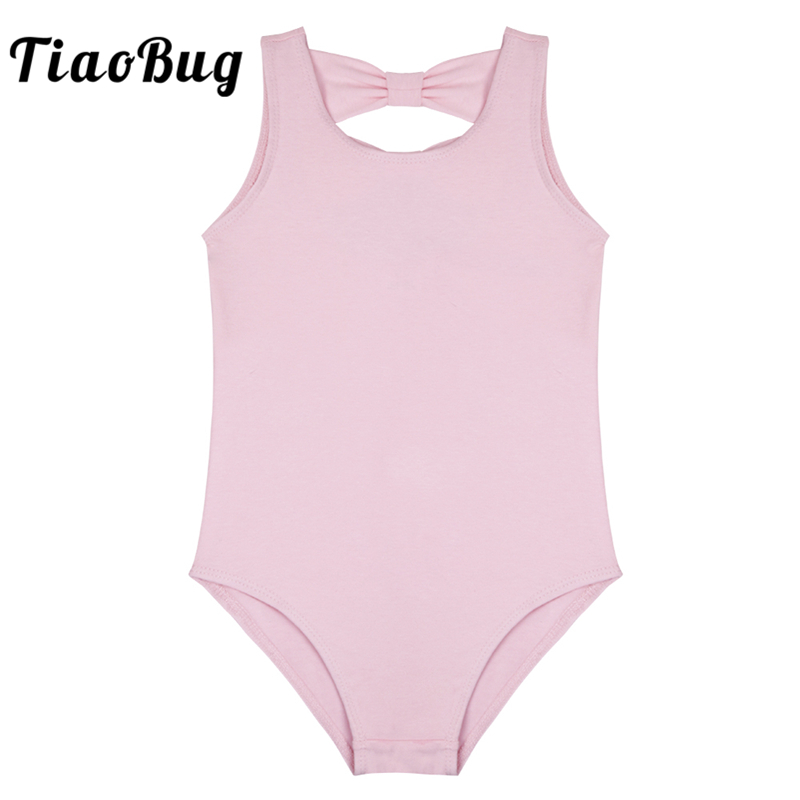 TiaoBug Cute Child Bowknot Cutout Professional Ballet Dance Leotard Girls Gymnastics Leotard Kids Ballerina Bodysuit Dance Wear
