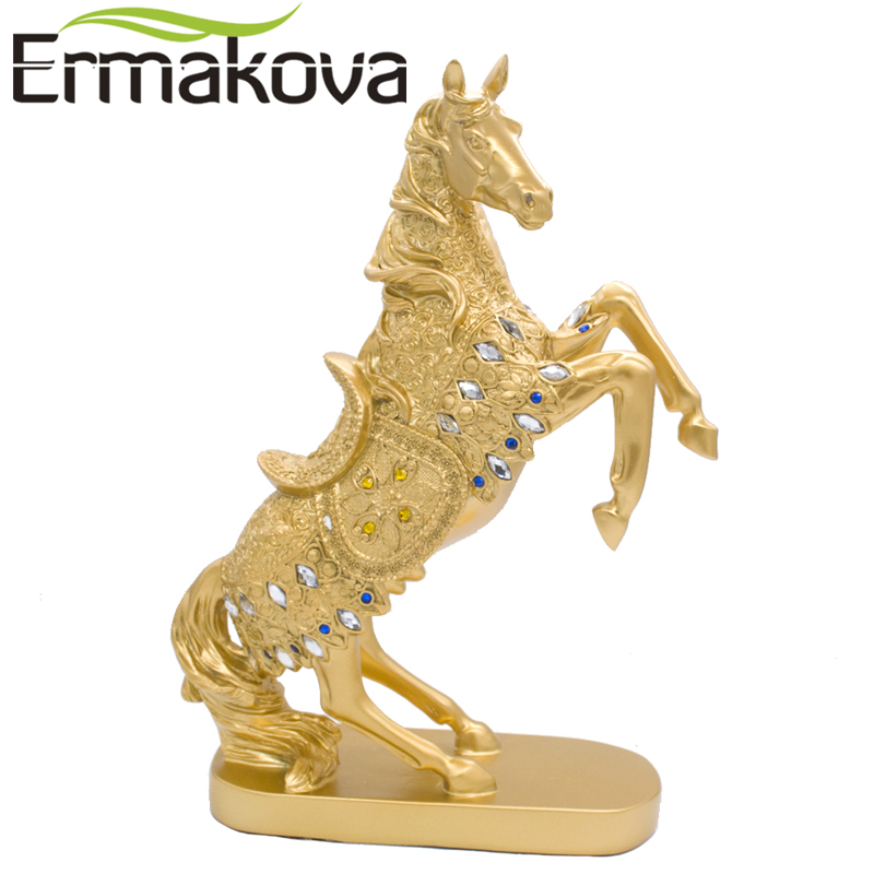 ERMAKOVA 37cm(14.5)Height Golden Standing Horse Statue Silver Animal Sculpture Figurine Resin Crafts Home Office Decor Gift