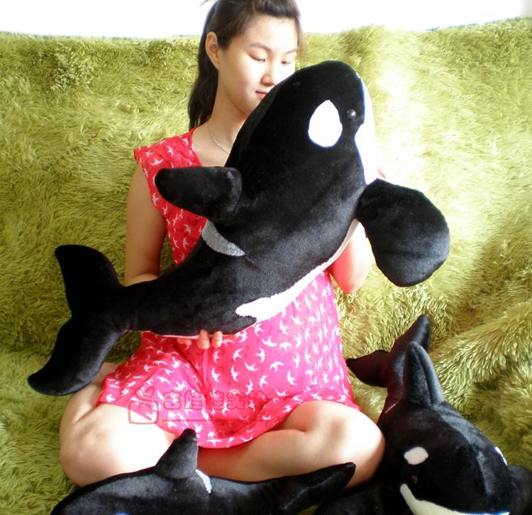 big size new simulation black killer whale plush toy gift about 80cm simulation black