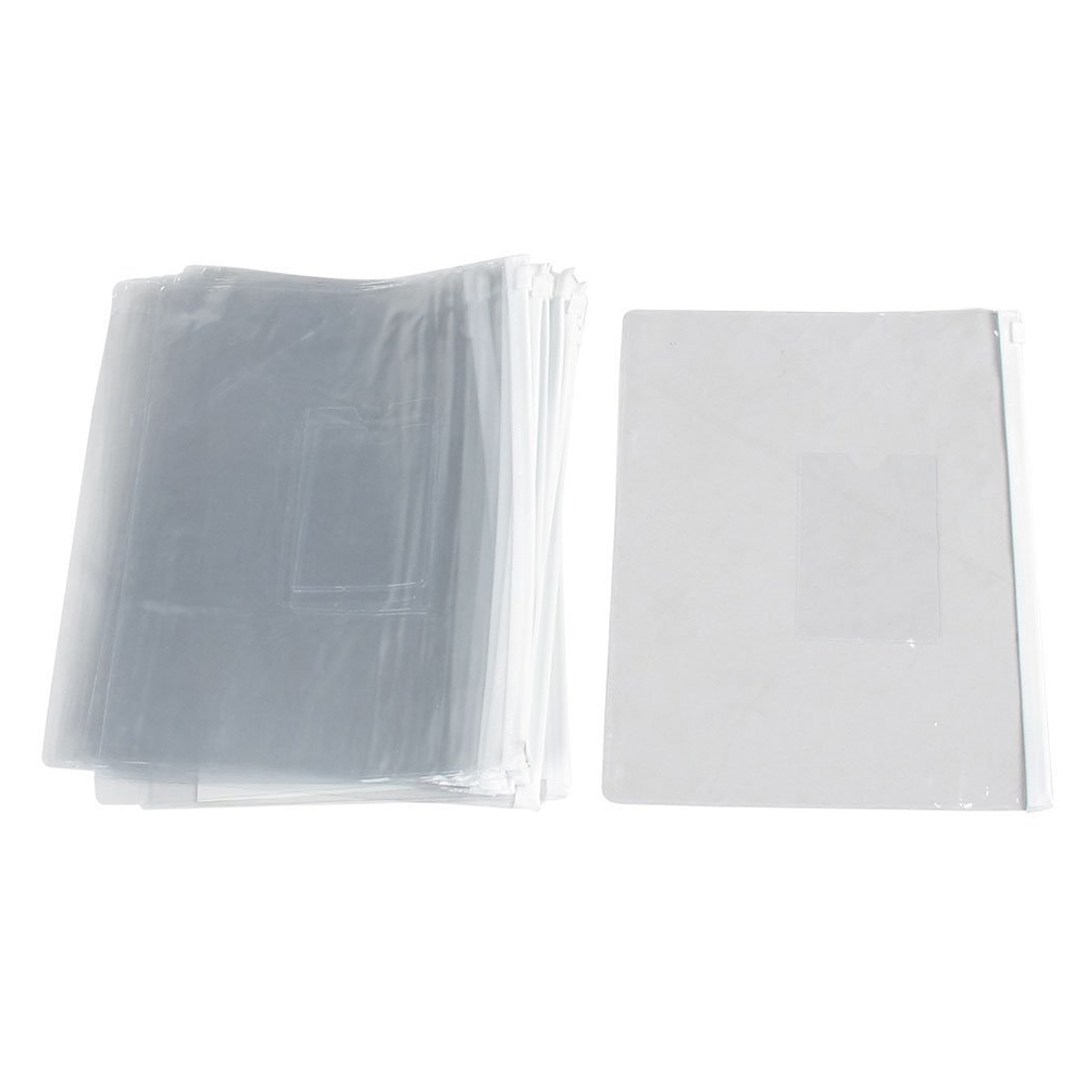 SCLL Hot 20 Pieces A5 Paper Size White Slider Grip Handle Zipper Transparent Envelopes For Folder Folder