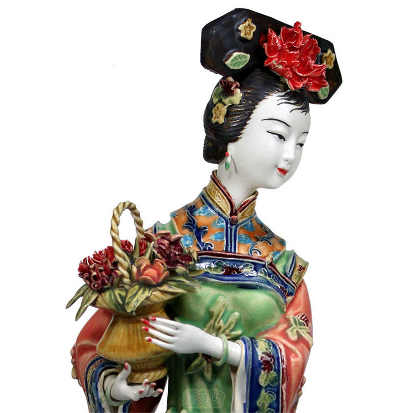 จีนโบราณเลดี้เซรามิครูปปั้น Chunyi Pure คู่มือรูปหัตถกรรมสะสม Porcelain Figurine คริสต์มาส Vintage Home Decor