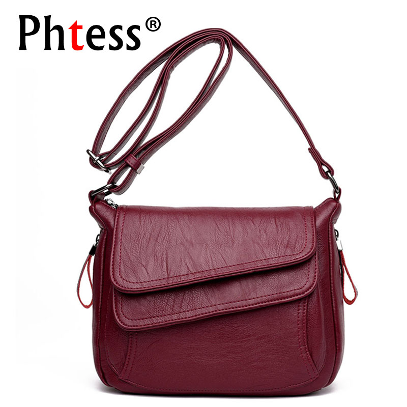 2018 New Women Leather Messenger Bags Luxury Handbags Women Bags Designer Female Crossbody Vintage Shoulder Bag Ladies Bolsas цена