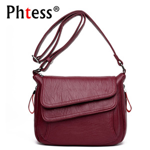 Image 1 - 2019 New Women Leather Messenger Bags Luxury Handbags Women Bags Designer Female Crossbody Vintage Shoulder Bag Ladies Bolsas