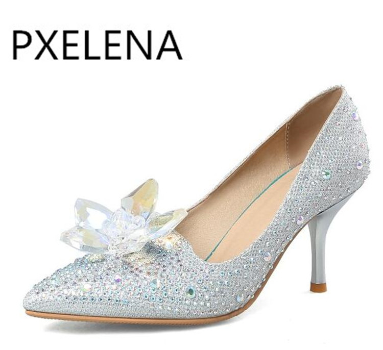 PXELENA 2018 New Rhinestone High Heels Cinderella Shoes Women Pumps Pointed  toe Woman Crystal Wedding Shoes Heel big Size 34 43 -in Women s Pumps from  Shoes ... 217ec9fa05e0