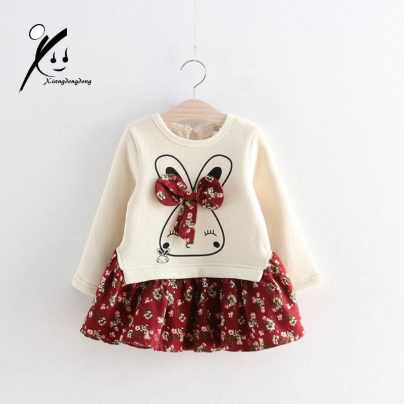 Little Girl Bow-tie Rabbit Dress 2017 New Fashion Autumn Winter Long Sleeve Velvet Patchwork Casual Dresses for Girls Cloths produino acs712elc 20a range acs712 current sensor module for arduino blue