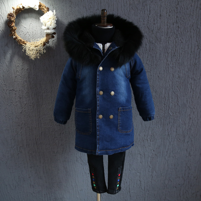 ФОТО  YNB Wholesale 5 Pieces boys winter long coats 1Hooded denim coat +thickened lamb sweater high quality children kids coats