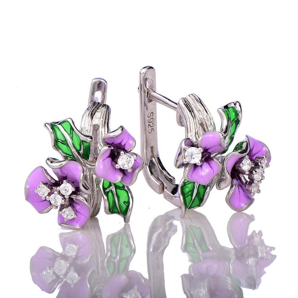 WindJune Enamel Flower Engagement Earring for Women 925 Silver Earring Party Jewelry pendientes plata 925 серьги висячие oem 925 925 czkalqra fpuaohba e051 earring