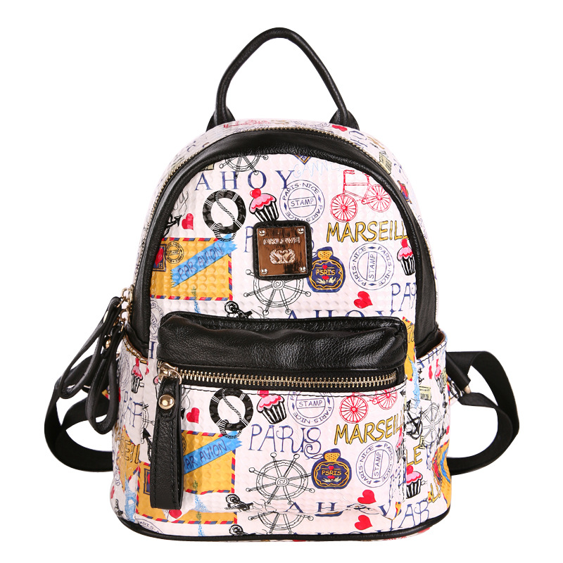 2017 NEW Women Fashion Mini Graffiti Backpack Small Ladies Backpack For Teenage Girl Travel Bags Mochila