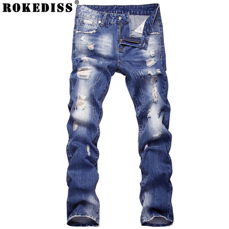 2016 new style hole patch beggars slim men jeans pants men s denim straight trousers high