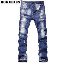 2016 новый стиль отверстие патч нищие тонкий мужские джинсы брюки мужские джинсовые прямые брюки высокое качество модной одежды TE017