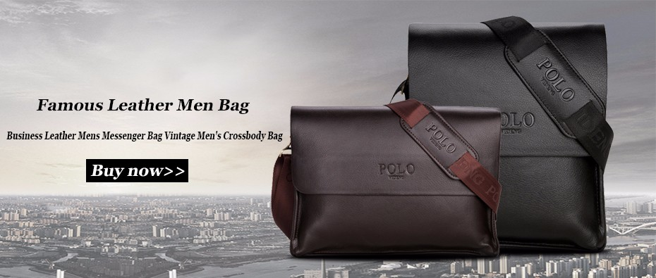 VIDENG POLO Famous Brand Leather Men Bag Casual Business Messenger ... bac12e838f
