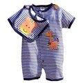 Girafa bonito Listras Azuis Verão 2016 Conjunto de Roupas de Bebê Menino Bebe Bodysuit + Bib 2 PCS Roupa Dos Miúdos Terno do Bebê Recém-nascido roupas