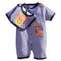 Jirafa linda Rayas Azules de Verano 2016 Bebé Que Arropan el Sistema Bebe Body + Bib 2 UNIDS Niños Traje Ropa de Recién Nacido ropa