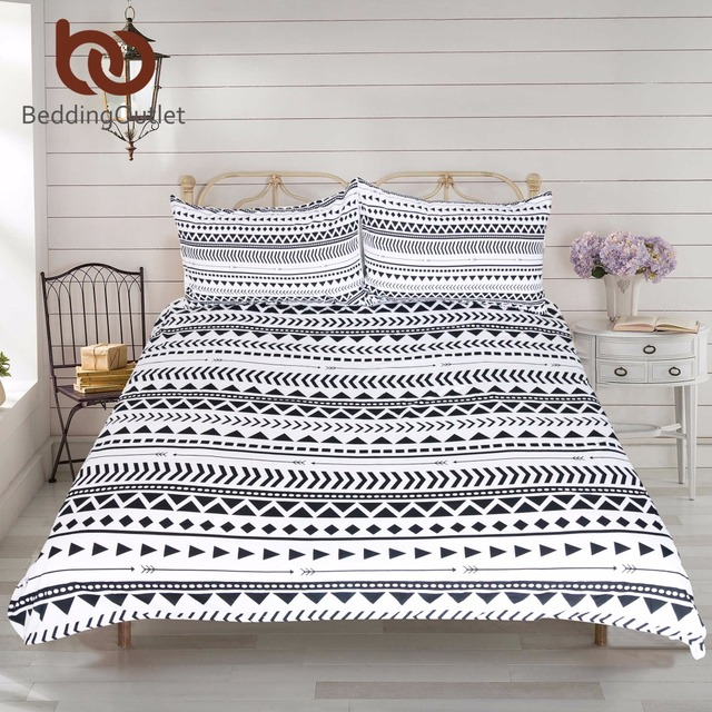 3pcs black white striped duvet cover set modern chic reversible geometric printed bedding set soft