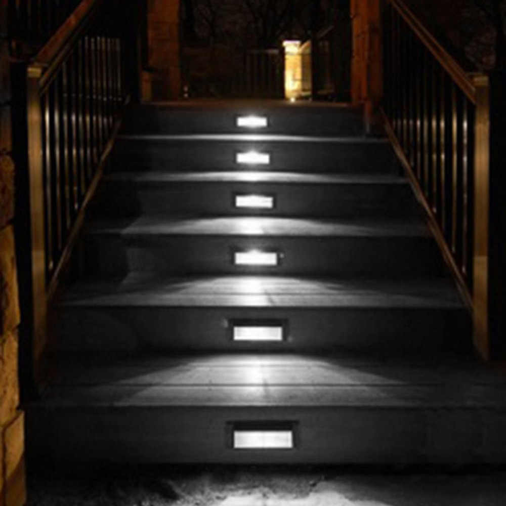 2 Led Solar Powered Wall Lamp Energy Saving Led Powered Wall | Outdoor Garden Under Stairs | Small | Crosstie | Gardening | Landscaping | Lawn