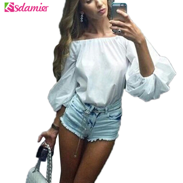 Fashion Off Shoulder Lantern Sleeve Women Blouse Plus Size Tops For Women Spring Cold Shoulder Tunic Top Female Sexy Shirts