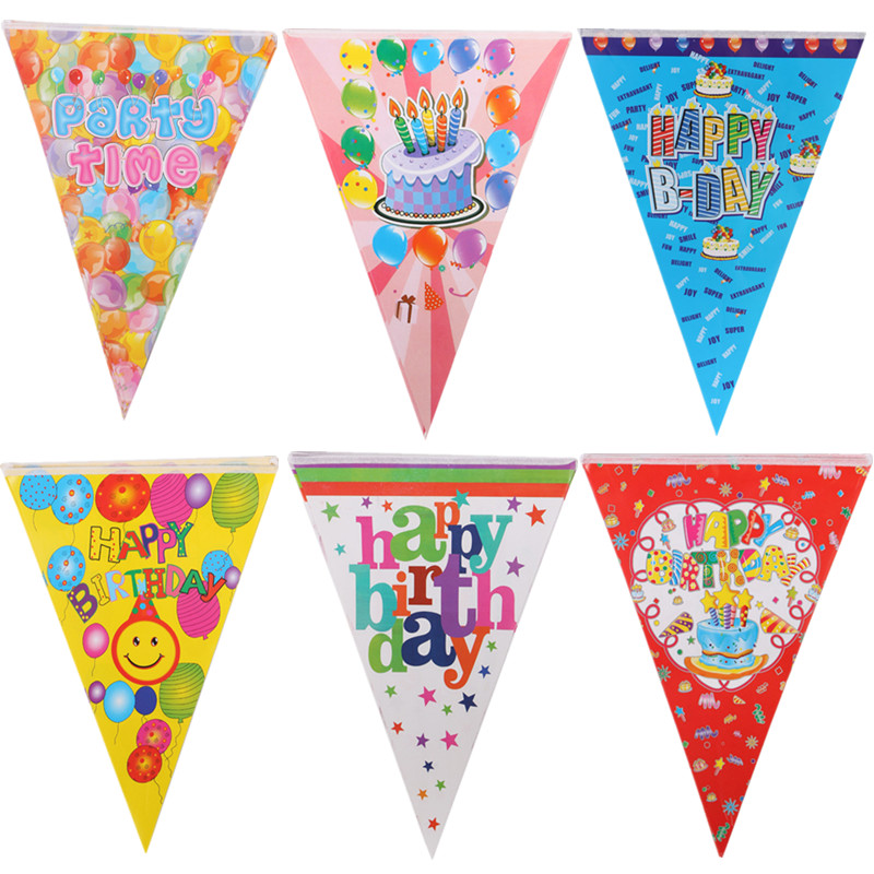 Happy Birthday Banners Pulling Flag Party Time Cake Balloons Birthday Hanging Flags Multi Style Birthday Party Accessories Decor