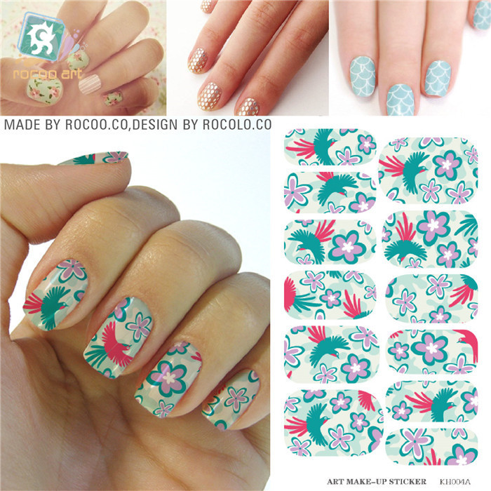 New adhesive foil Water Transfer Nail Colored phoenix flower pattern Patch styling tools nail art decorations nail sticker