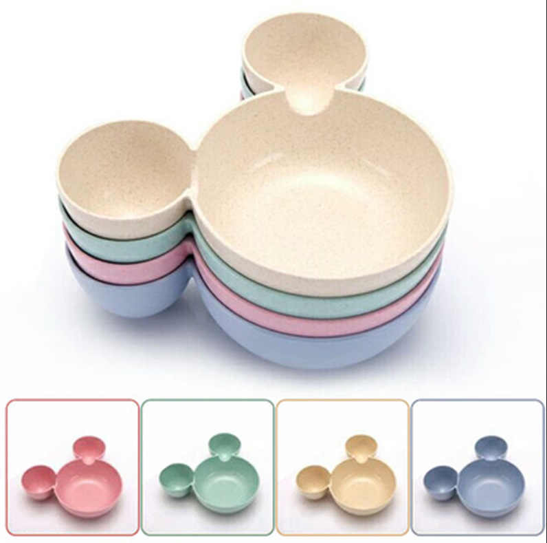 Infant Kid Bowl Dishes Cartoon Mouse Lunch Box Kid Baby Children Baby Rice Feeding Bowl Plastic Snack Plate Tableware