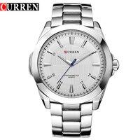 Модный бренд CURREN, Простой циферблат, классические деловые мужские часы, полностью Стальные кварцевые мужские наручные часы, серебряные час...