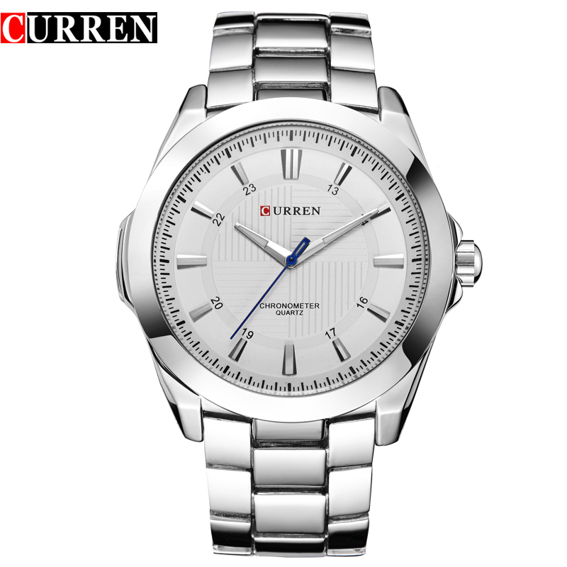 Fashion Brand CURREN Simple Dial Classic Business Men Watches Full Steel Quartz Male Wristwatch Silver Clock Reloj Hombre