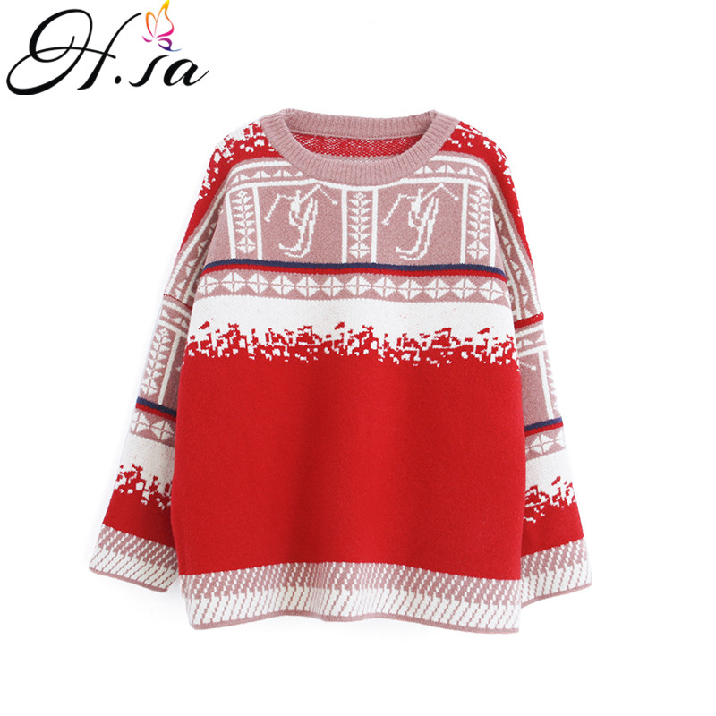 H.SA Women Autumn Winter Pullovers Retro Christmas Sweaters Sweaters Oneck Oversized Winter Sweaters Vintage Pull Femme