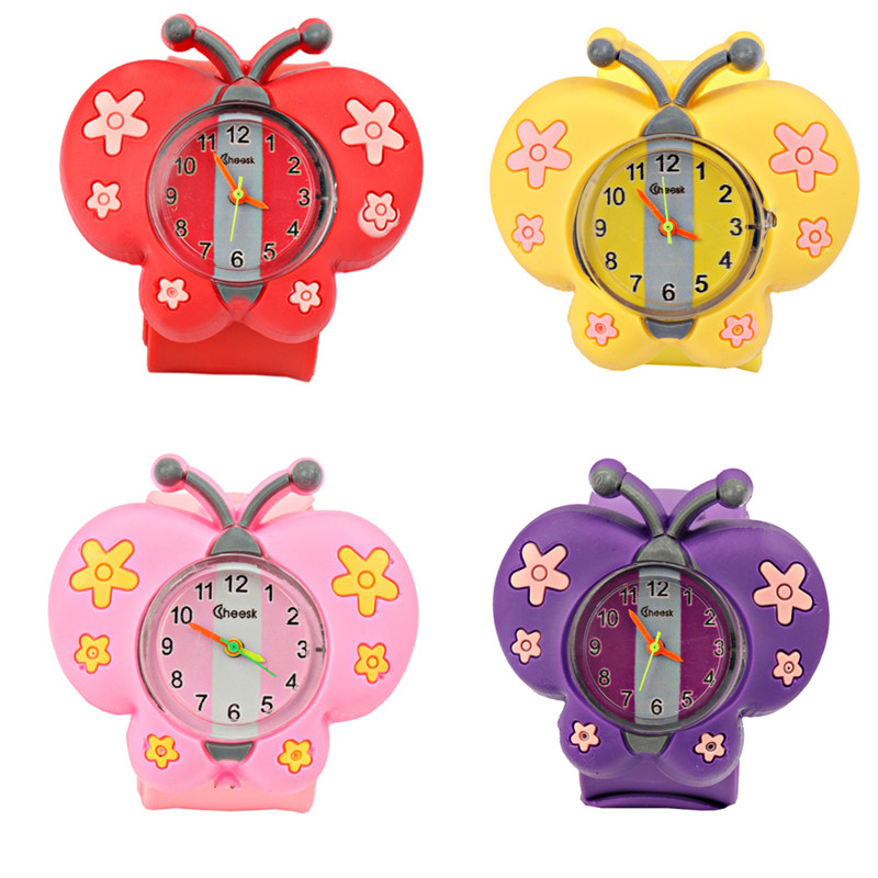 Cute Butterfly Kids Watches Slap Watch Cartoon Silicone Sports Children Watch 3D Creative Quartz Wristwatch Baby Clock