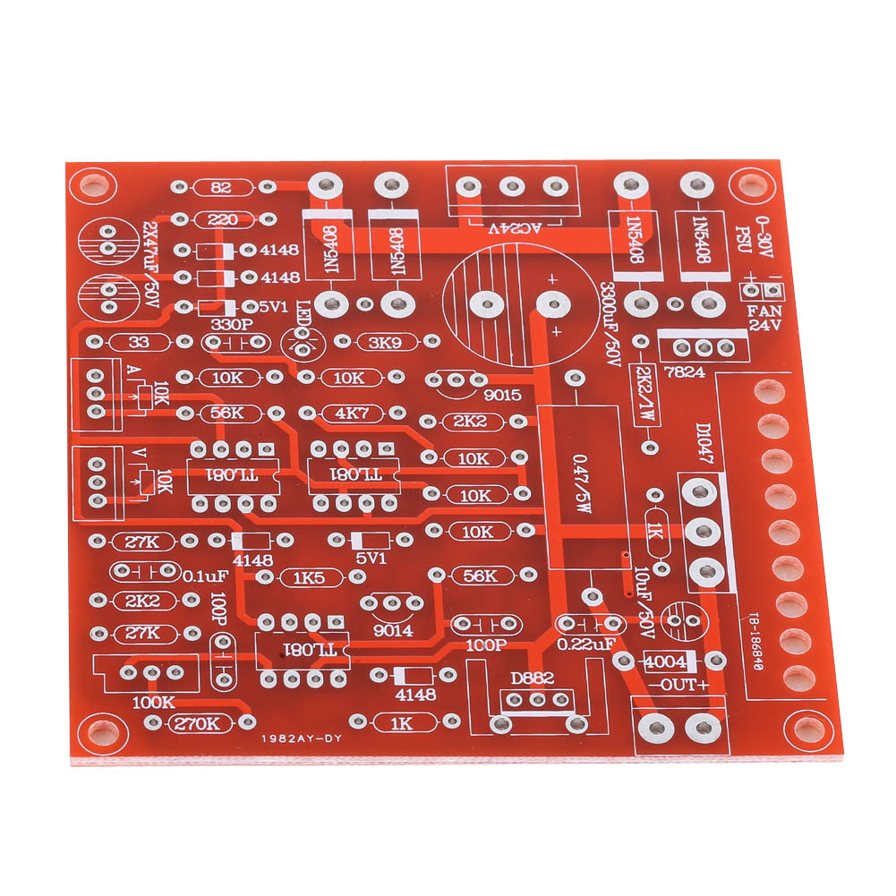 Red DC Continuously Adjustable Regulated Power Supply DIY Kit Short Circuit Current Limiting 0-30V 2mA-3A For Home Use FEN#