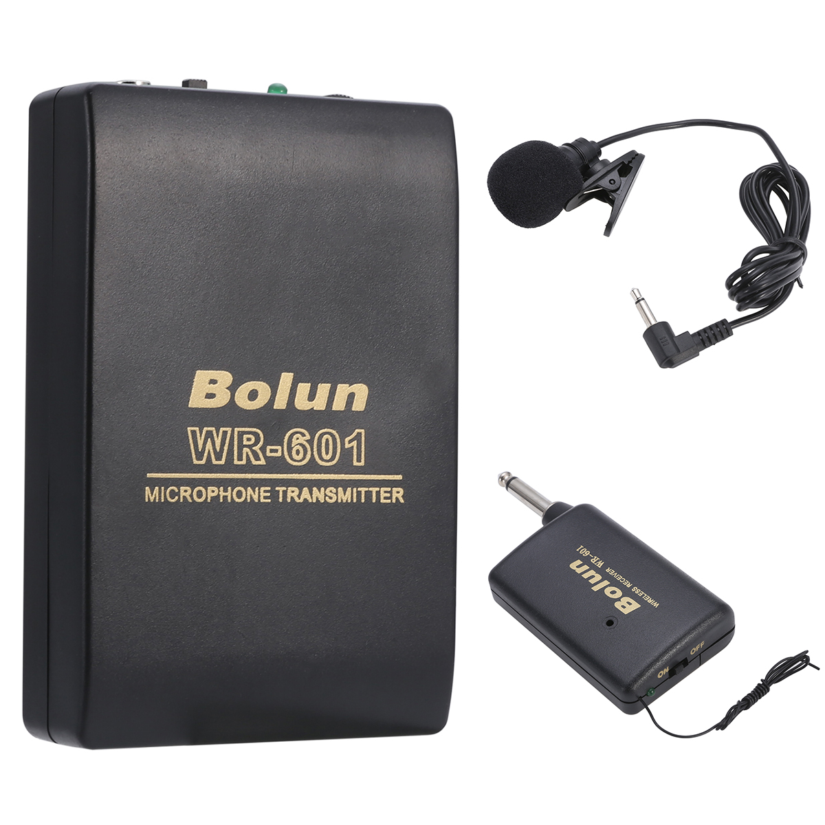Mayitr WR601 Mini FM Transmitter Empfänger Revers Clip Mic System 3,5mm Stereo Clip-on Mikrofon