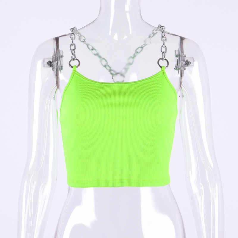 Харадзюку неоновый зеленый металлический ремень укороченный Топ майка женская сексуальная открытая спина укороченные женские топы фестивальный Топ уличная укороченная женская одежда