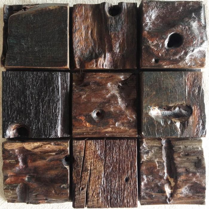 baldosa de madera de aspecto rstico natural patrn de bloques madera mosaico backsplash de la