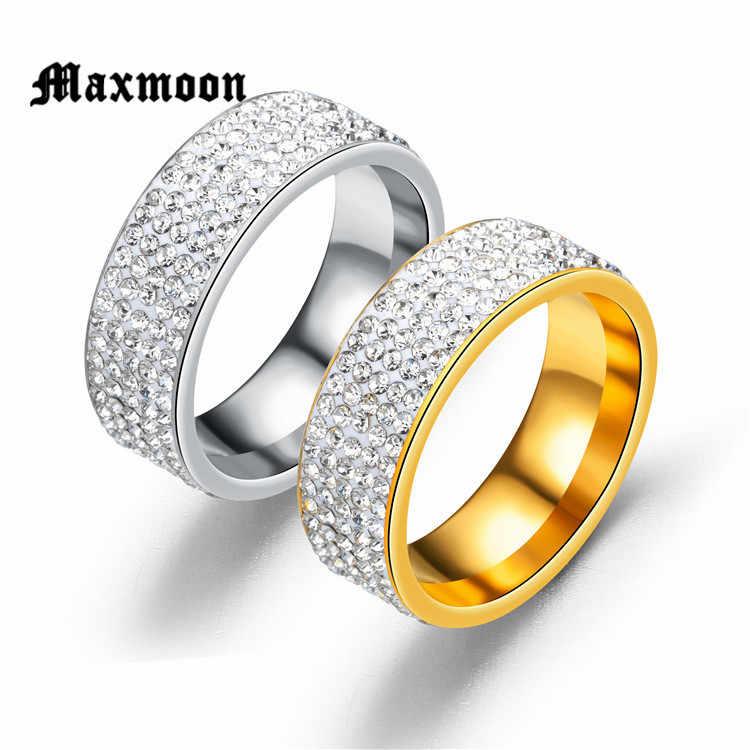 Maxmoon 5 แถวเส้นเครื่องประดับคริสตัลใสแฟชั่นทองเงินสีสแตนเลสหมั้นแหวนผู้หญิงผู้ชายของขวัญ