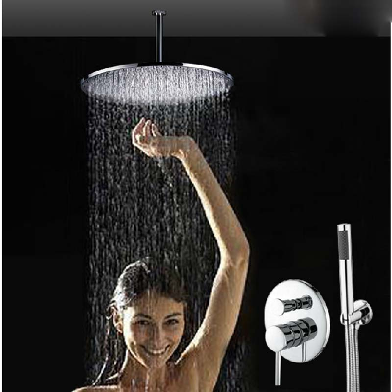 Wholesale And Retail Ceiling Mounted Round Rain Shower Faucet Valve Mixer Tap W/ Hand Shower Solid Brass Top Over-head