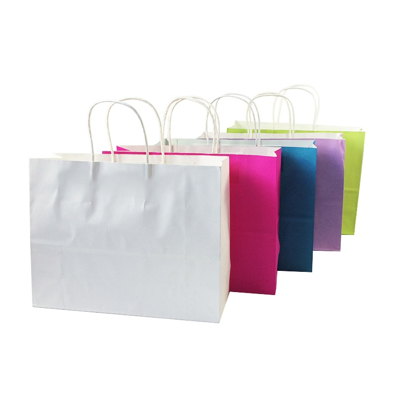 10 Pcs/lot Multifuntion Kraft Paper Bags With Handle Candy Color Recyle Shopping Package Bags Gift Bag 32*25*11cm