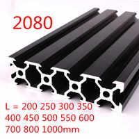 100 mm-800mm Schwarz 2080 Aluminium Profil Extrusion Rahmen für CNC Laser Gravur Maschine Werkzeug Holzbearbeitung DIY
