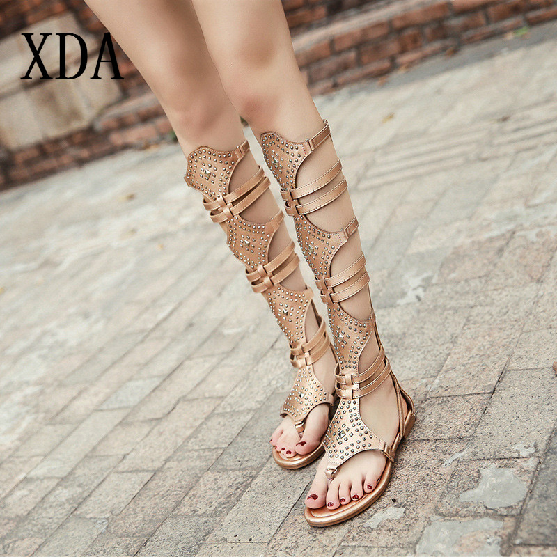 XDA 2019 Golden Black Casual Women Gladiator fashion Sandals PU Leather Open Toe Knee High Rivet Zip Leisure flat Sandals D258