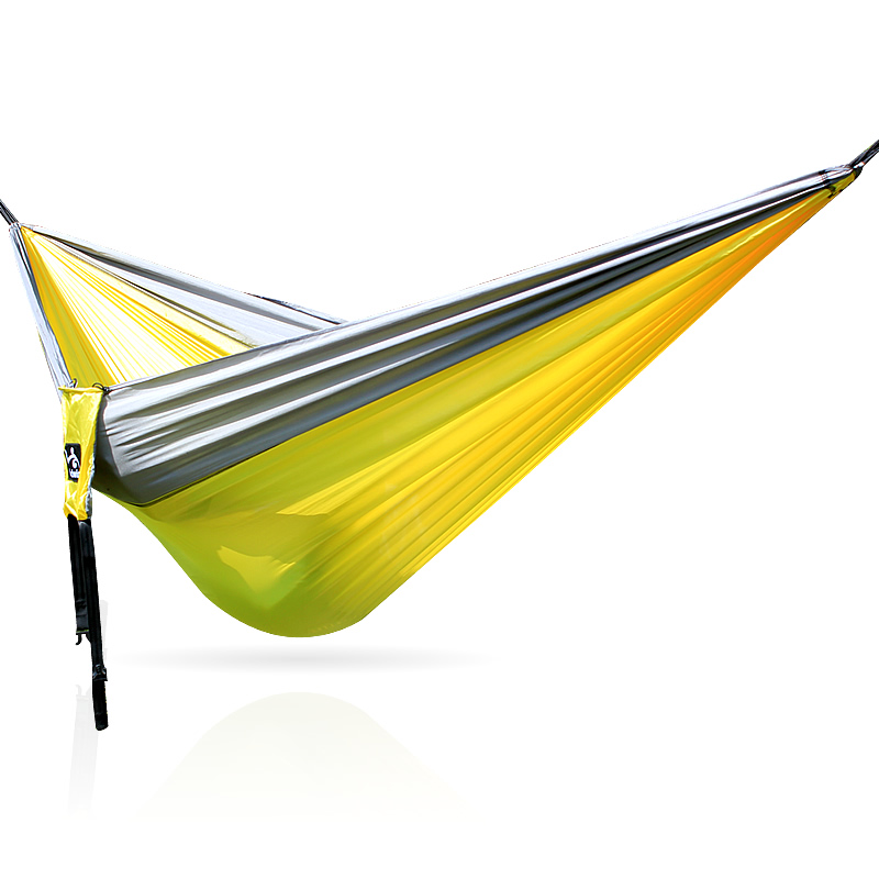 Parachute nylon fabric travel camping folding hammock backpack hammock for twoParachute nylon fabric travel camping folding hammock backpack hammock for two