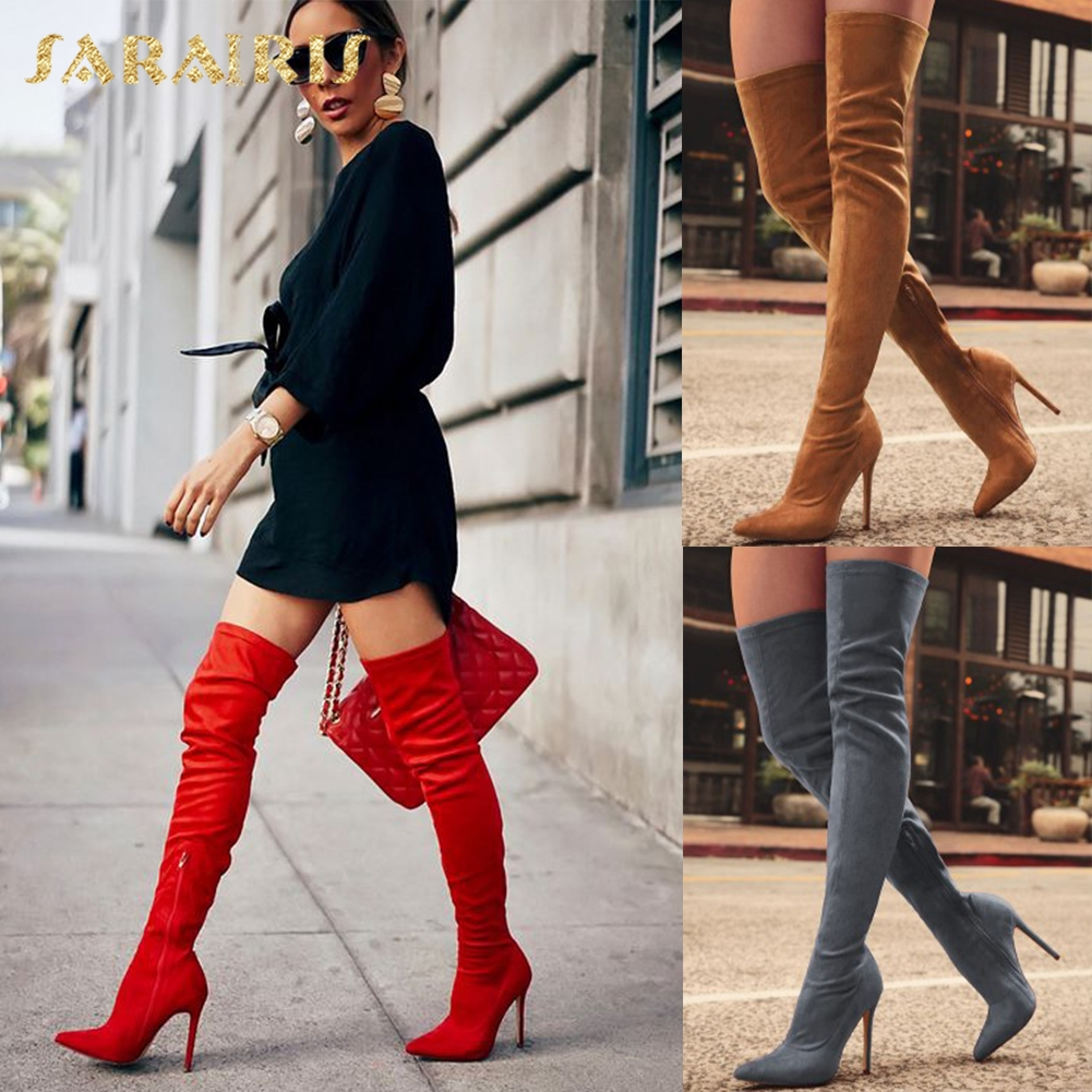 SARAIRIS 2018 brand design plus size 31-43 Women's shoes Boots Suede thin High heels Over-The-Knee woman boots Red Black shoes