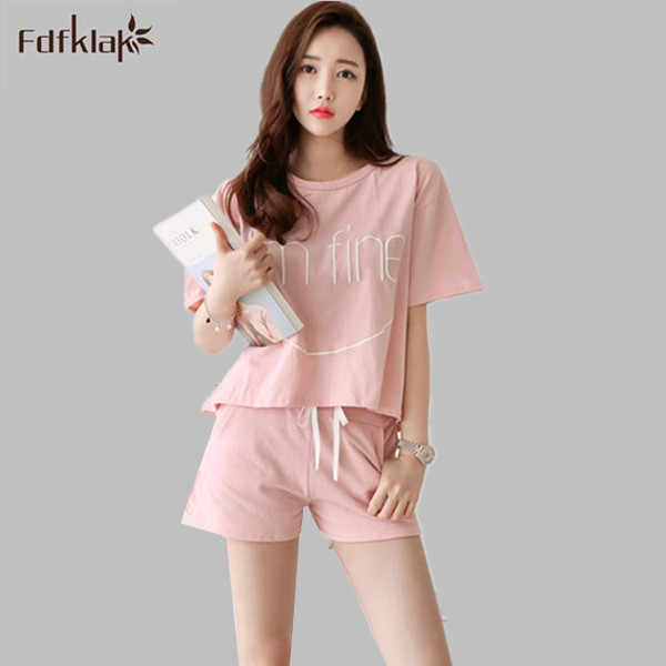 Korean Style women summer pyjamas short sleeve casual sleep female suit  plus size pajamas set ladies sleepwear pijamas mujer-in Pajama Sets from  Underwear ... 1f70809c7