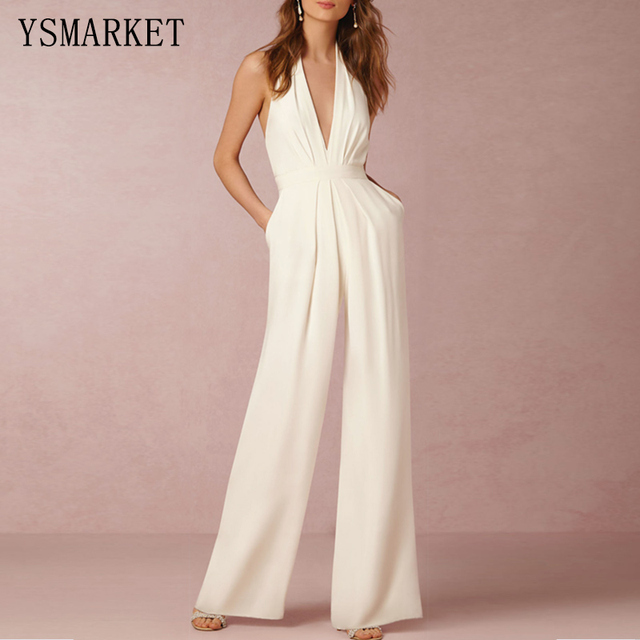 White Romper Summer Sexy Women Jumpsuit Sleeveless Trousers Long Pants Overall Wide Leg Lady Jumpsuit High Waist Halter E207