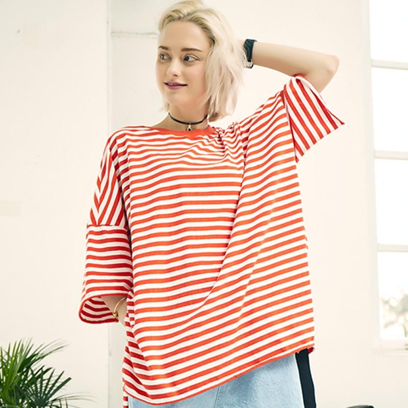 Summer Cotton Loose t shirt women Side Split tops tees Striped Long Women T shirt Harajuku Streetwear Patchwork Casual t shirt