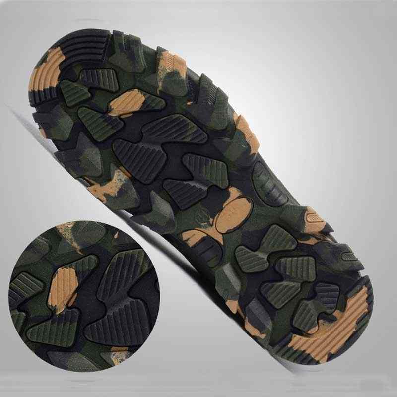 Camouflage รองเท้าเหล็กทำงานรองเท้า Breathable ทำงานรองเท้าสำหรับรองเท้าผ้าใบ Man เหล็กหลักฐานเจาะรองเท้าบูทความปลอดภัย